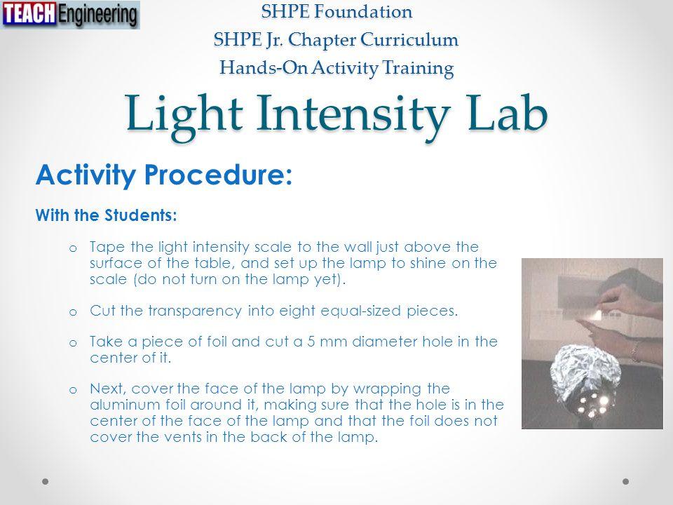 Light Intensity Lab SHPE Foundation SHPE Jr.