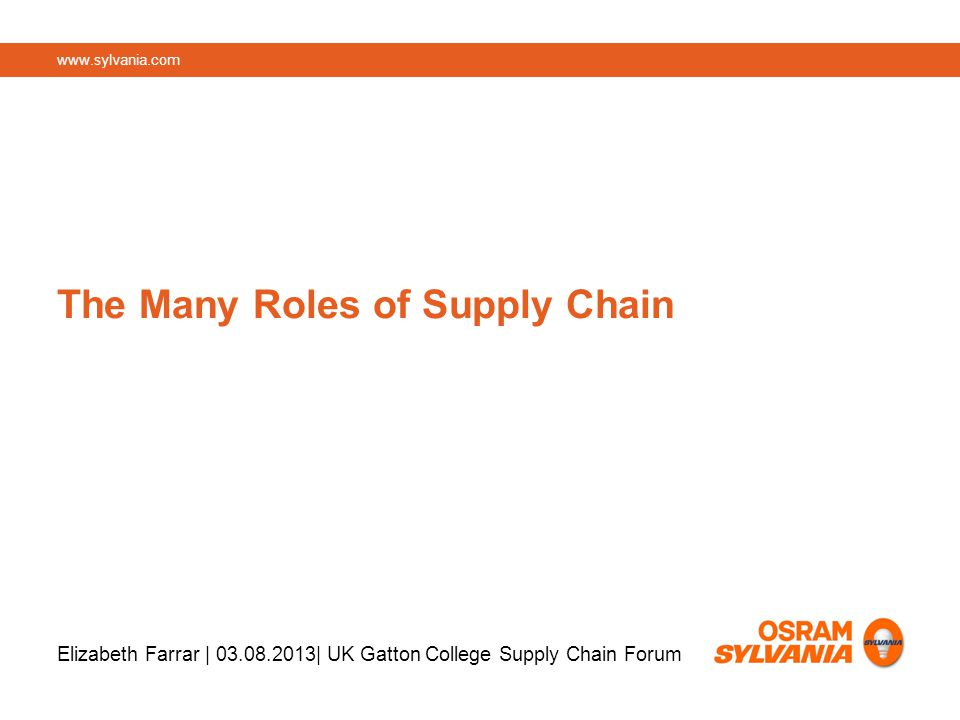 The Many Roles of Supply Chain Elizabeth Farrar | | UK Gatton College Supply Chain Forum