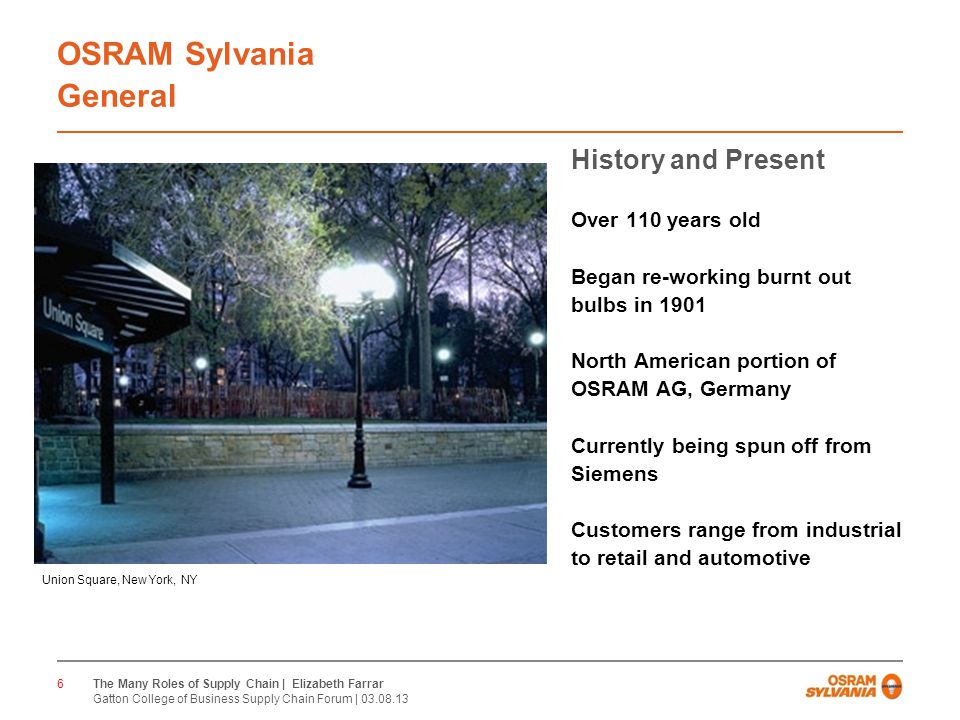 CONFIDENTIAL OSRAM Sylvania General History and Present Over 110 years old Began re-working burnt out bulbs in 1901 North American portion of OSRAM AG, Germany Currently being spun off from Siemens Customers range from industrial to retail and automotive 6 Union Square, New York, NY The Many Roles of Supply Chain | Elizabeth Farrar Gatton College of Business Supply Chain Forum |