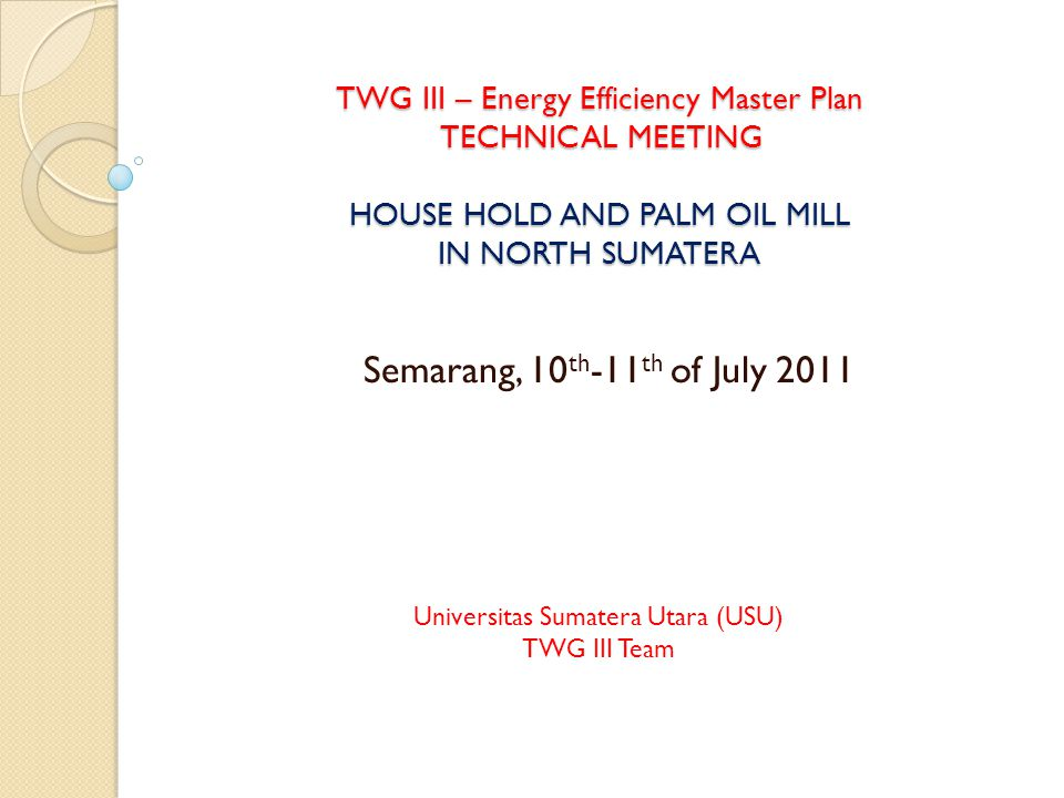TWG III – Energy Efficiency Master Plan TECHNICAL MEETING HOUSE HOLD AND PALM OIL MILL IN NORTH SUMATERA Semarang, 10 th -11 th of July 2011 Universitas Sumatera Utara (USU) TWG III Team