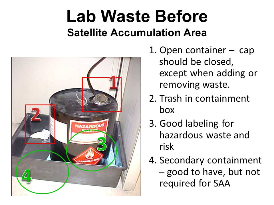 Lab Waste Before Satellite Accumulation Area 1.