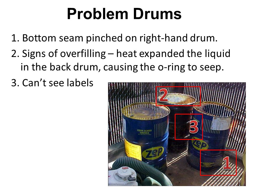 Problem Drums 1.Bottom seam pinched on right-hand drum.