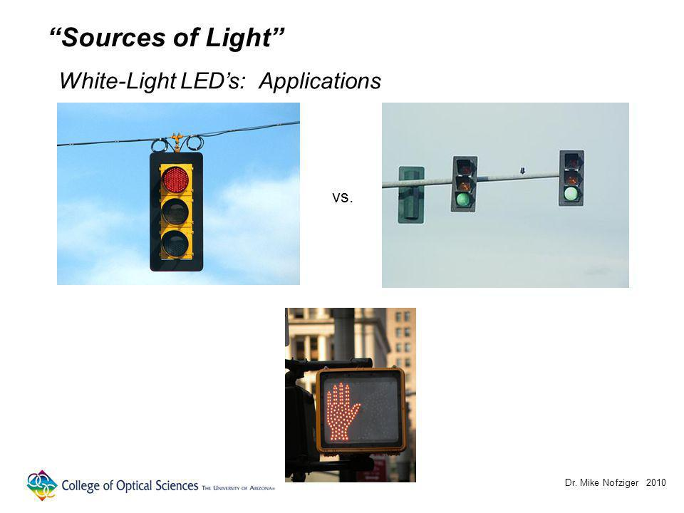 Dr. Mike Nofziger 2010 Sources of Light White-Light LEDs: Applications vs.