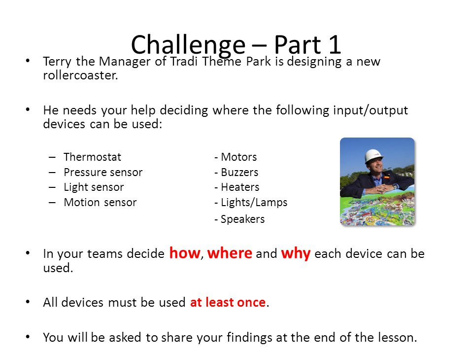 Challenge – Part 1 Terry the Manager of Tradi Theme Park is designing a new rollercoaster.