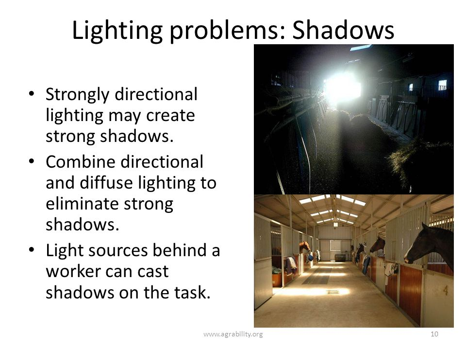 Lighting problems: Shadows Strongly directional lighting may create strong shadows.