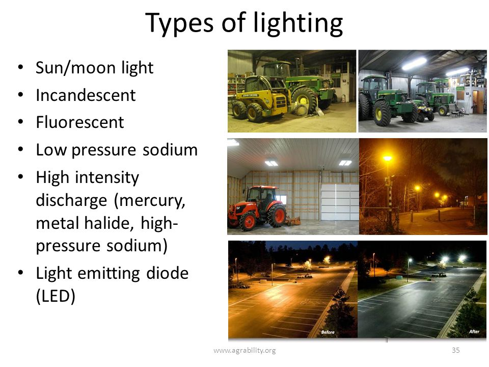 Types of lighting www.agrability.org35 Sun/moon light Incandescent Fluorescent Low pressure sodium High intensity discharge (mercury, metal halide, high- pressure sodium) Light emitting diode (LED)