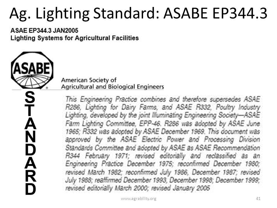 Ag. Lighting Standard: ASABE EP344.3 www.agrability.org41