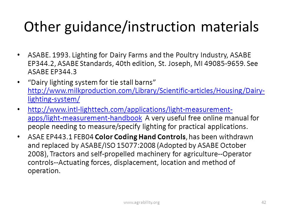 Other guidance/instruction materials ASABE.1993.