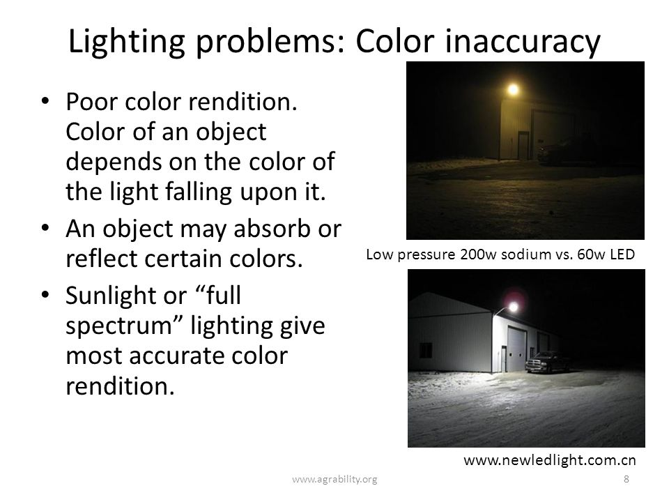 Lighting problems: Color inaccuracy Poor color rendition.