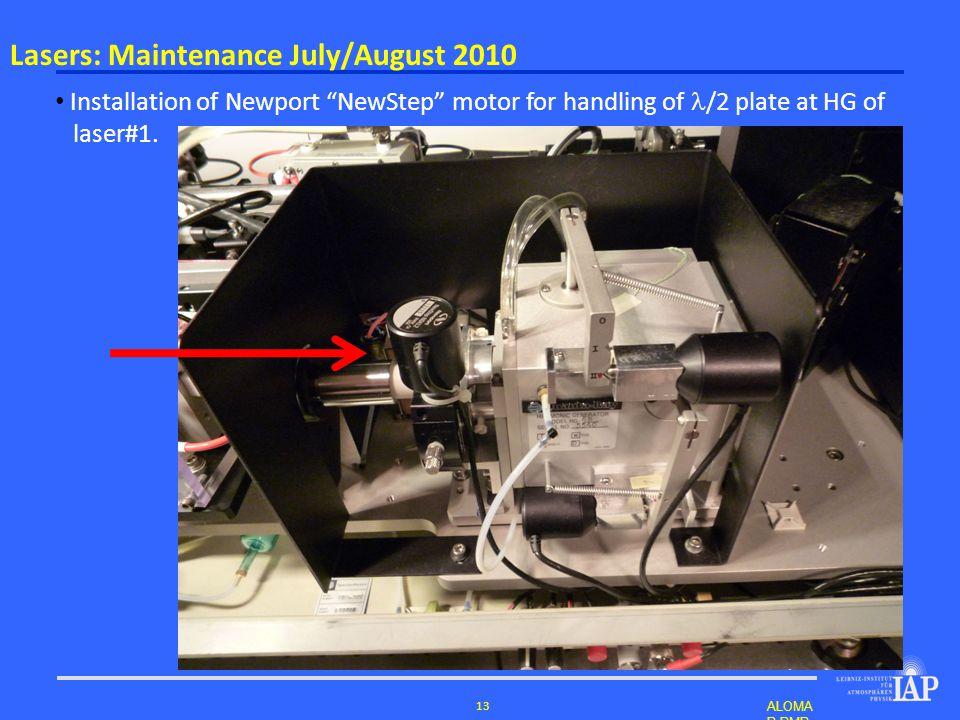 ALOMA R RMR- Lidar – Norderst edt, 2011 13 Installation of Newport NewStep motor for handling of /2 plate at HG of laser#1.