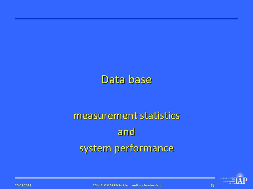 1826th ALOMAR RMR-Lidar meeting - Norderstedt20.03.2011 Data base measurement statistics and system performance