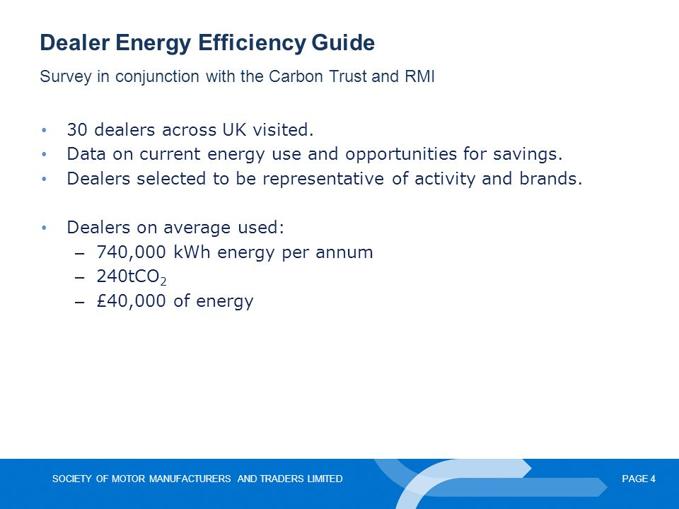 SOCIETY OF MOTOR MANUFACTURERS AND TRADERS LIMITEDPAGE 4 Dealer Energy Efficiency Guide Survey in conjunction with the Carbon Trust and RMI 30 dealers