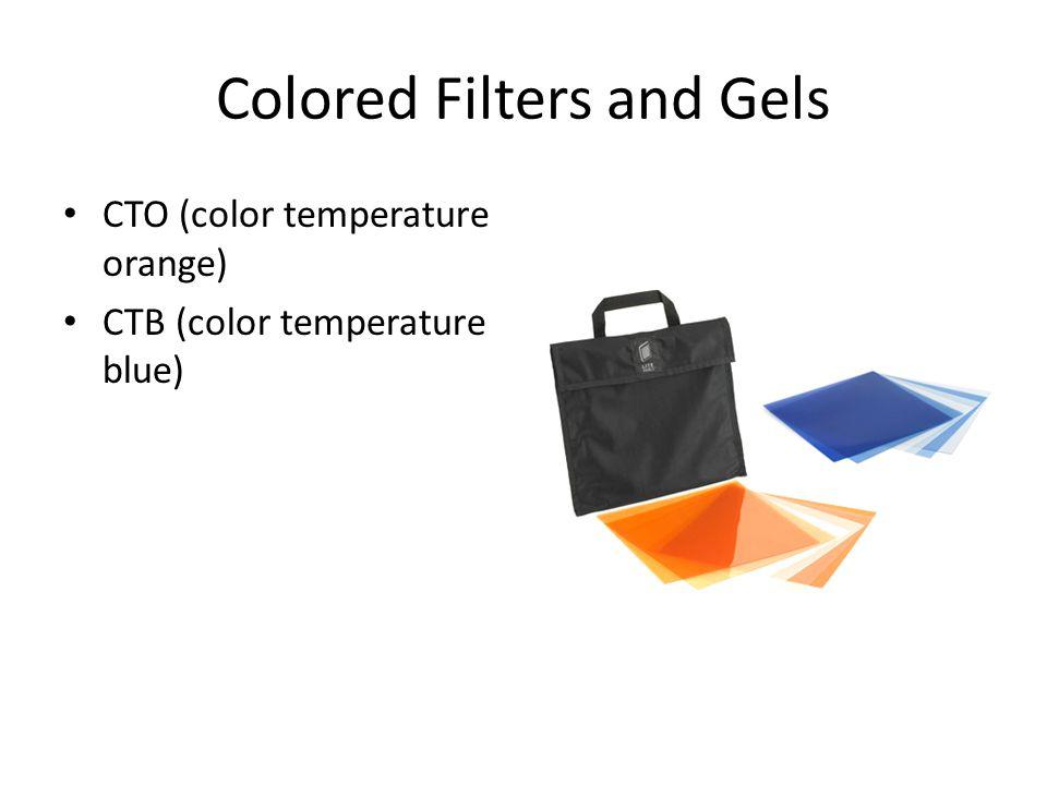 Colored Filters and Gels CTO (color temperature orange) CTB (color temperature blue)