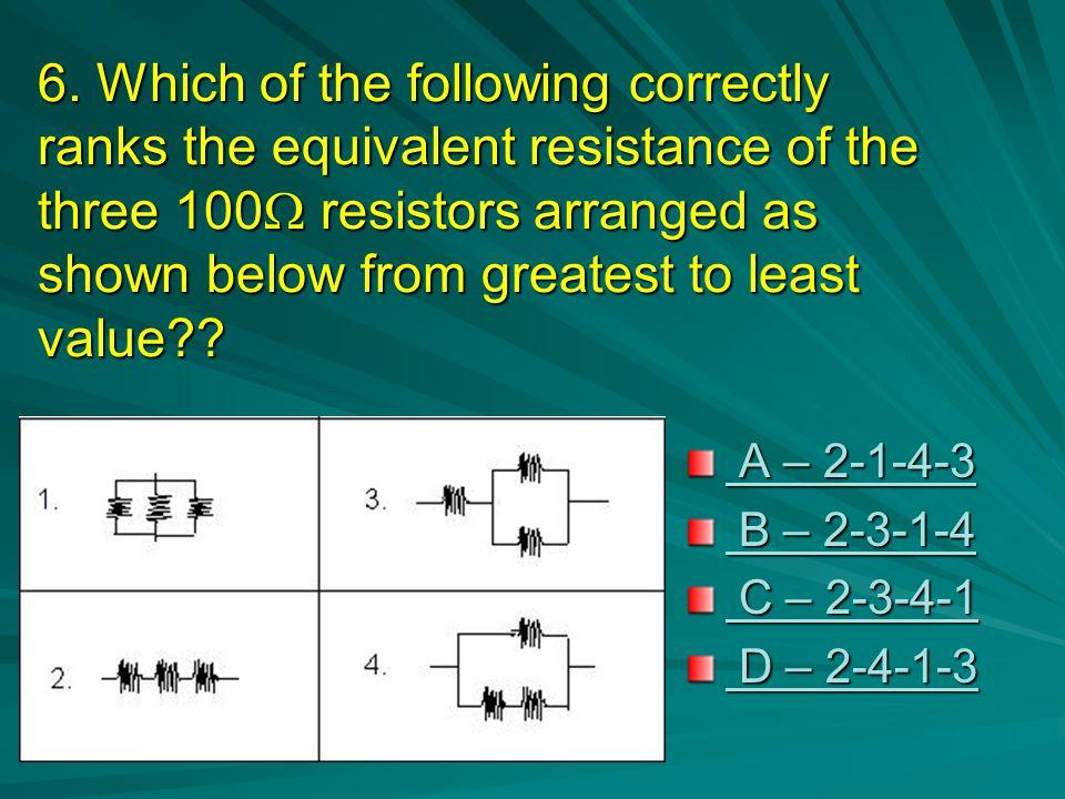 Correct ! Congratulations. V total = V 1 + V 2 + V 3 +…+ V n n = number of loads Since R is identical so as the V across Therefore V = V total / n