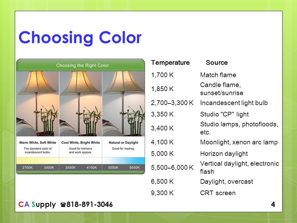 CA Supply 818-891-3046 4 Choosing Color Temperature Source 1,700 KMatch flame 1,850 K Candle flame, sunset/sunrise 2,700–3,300 KIncandescent light bulb 3,350 KStudio CP light 3,400 K Studio lamps, photofloods, etc.