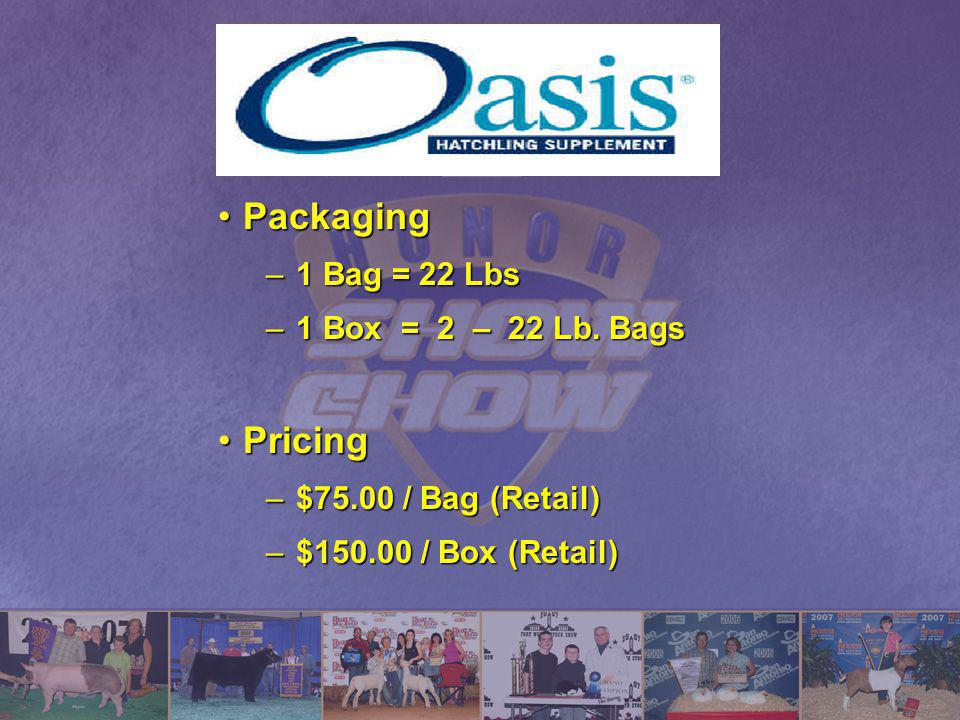PackagingPackaging –1 Bag = 22 Lbs –1 Box = 2 – 22 Lb. Bags PricingPricing –$75.00 / Bag (Retail) –$150.00 / Box (Retail)