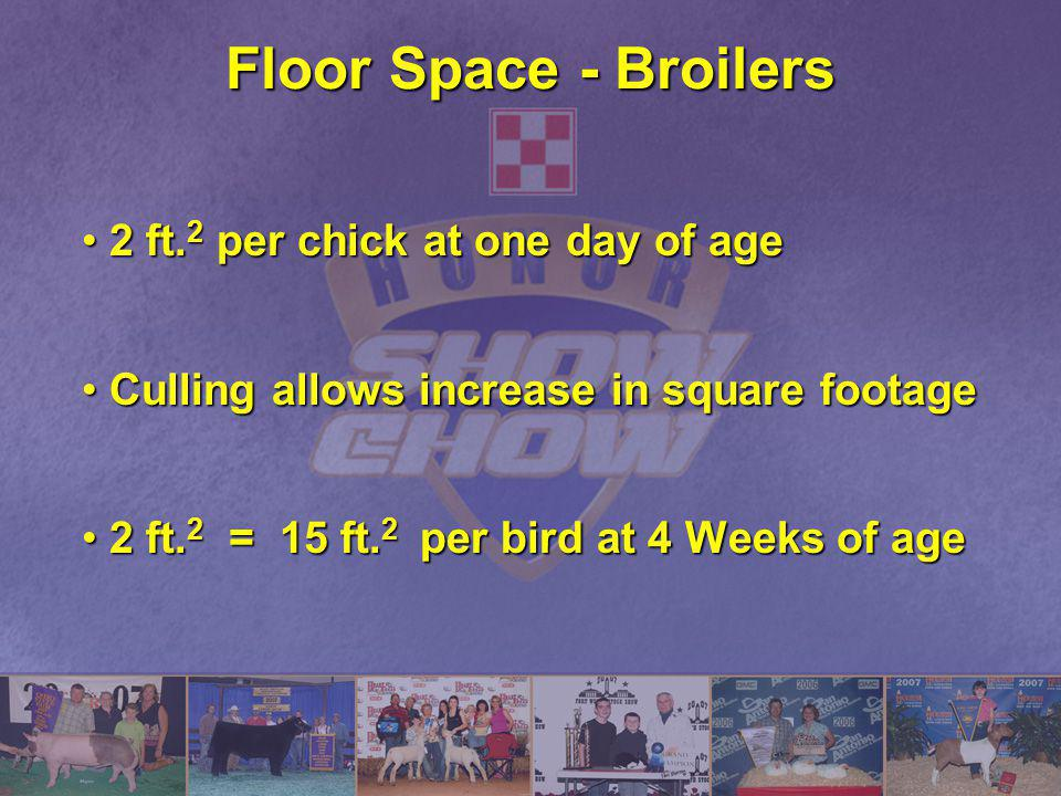 Floor Space - Broilers 2 ft. 2 per chick at one day of age2 ft. 2 per chick at one day of age Culling allows increase in square footageCulling allows