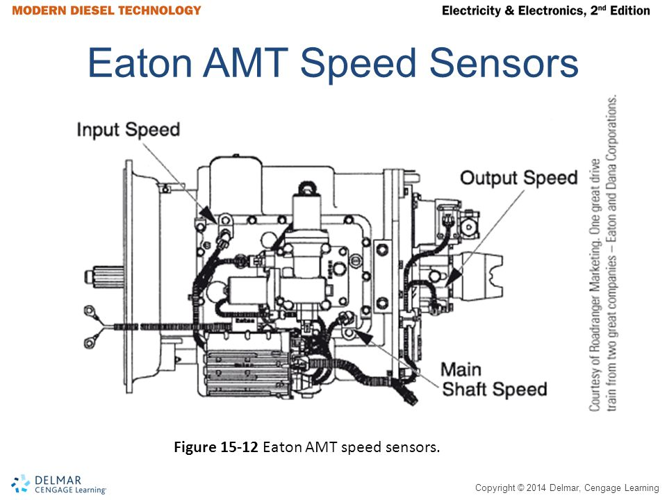 Copyright © 2014 Delmar, Cengage Learning Eaton AMT Speed Sensors Figure 15-12 Eaton AMT speed sensors.