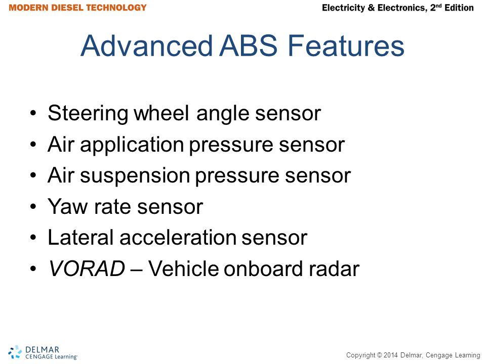 Copyright © 2014 Delmar, Cengage Learning Advanced ABS Features Steering wheel angle sensor Air application pressure sensor Air suspension pressure sensor Yaw rate sensor Lateral acceleration sensor VORAD – Vehicle onboard radar