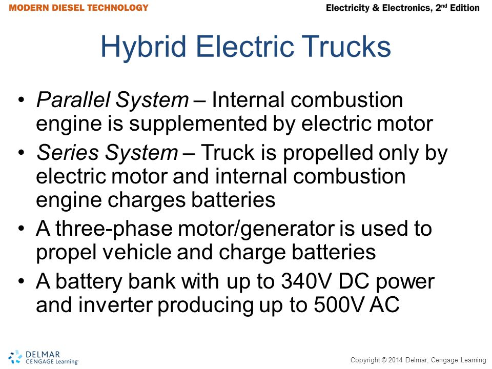 Copyright © 2014 Delmar, Cengage Learning Hybrid Electric Trucks Parallel System – Internal combustion engine is supplemented by electric motor Series System – Truck is propelled only by electric motor and internal combustion engine charges batteries A three-phase motor/generator is used to propel vehicle and charge batteries A battery bank with up to 340V DC power and inverter producing up to 500V AC