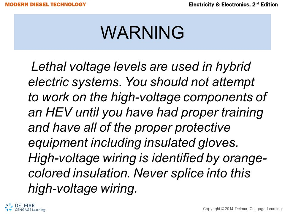Copyright © 2014 Delmar, Cengage Learning WARNING Lethal voltage levels are used in hybrid electric systems.