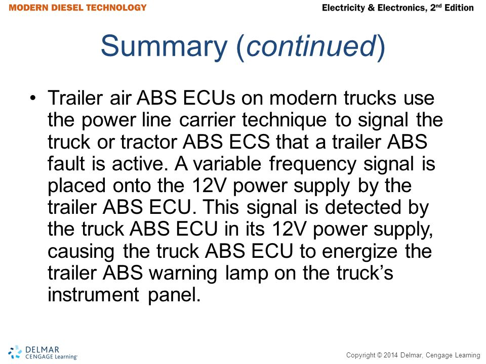 Copyright © 2014 Delmar, Cengage Learning Summary (continued) Trailer air ABS ECUs on modern trucks use the power line carrier technique to signal the truck or tractor ABS ECS that a trailer ABS fault is active.