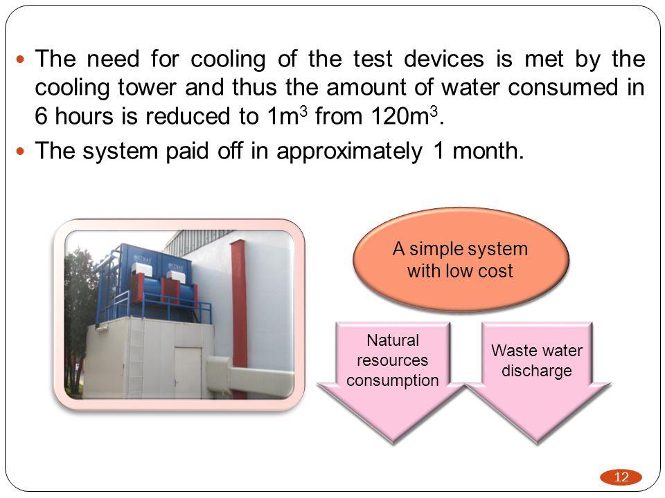 12 The need for cooling of the test devices is met by the cooling tower and thus the amount of water consumed in 6 hours is reduced to 1m 3 from 120m 3.