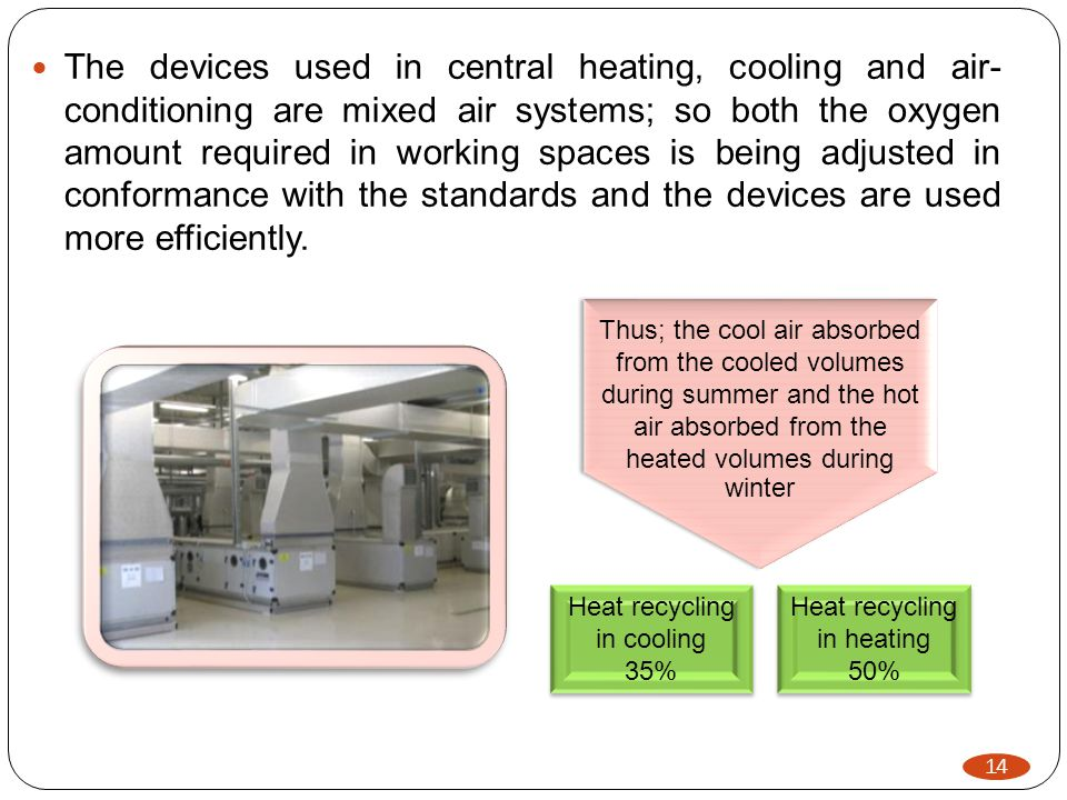 14 The devices used in central heating, cooling and air- conditioning are mixed air systems; so both the oxygen amount required in working spaces is being adjusted in conformance with the standards and the devices are used more efficiently.