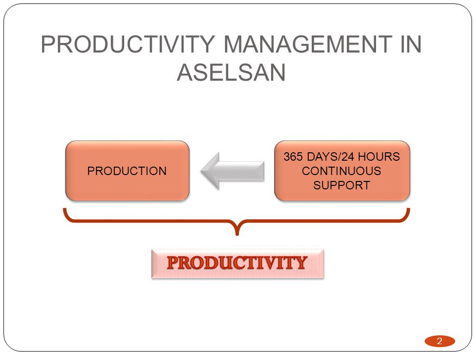 PRODUCTIVITY MANAGEMENT IN ASELSAN 2 PRODUCTION 365 DAYS/24 HOURS CONTINUOUS SUPPORT 365 DAYS/24 HOURS CONTINUOUS SUPPORT 2