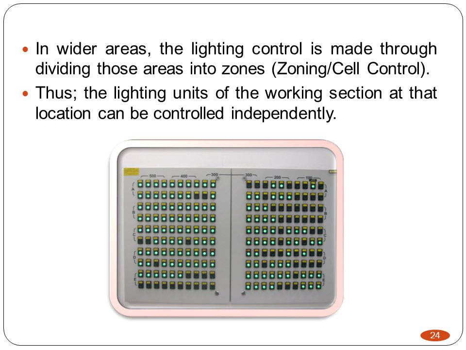 24 In wider areas, the lighting control is made through dividing those areas into zones (Zoning/Cell Control).