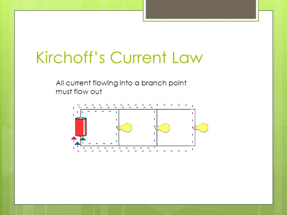 Kirchoffs Current Law All current flowing into a branch point must flow out