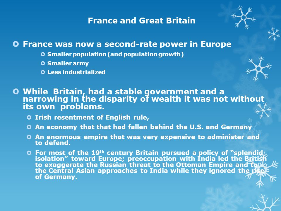 The Great Powers of Europe 1871-1900 Germany at the Center of Europe German unification undid the balance of power that the Congress of Vienna had tri