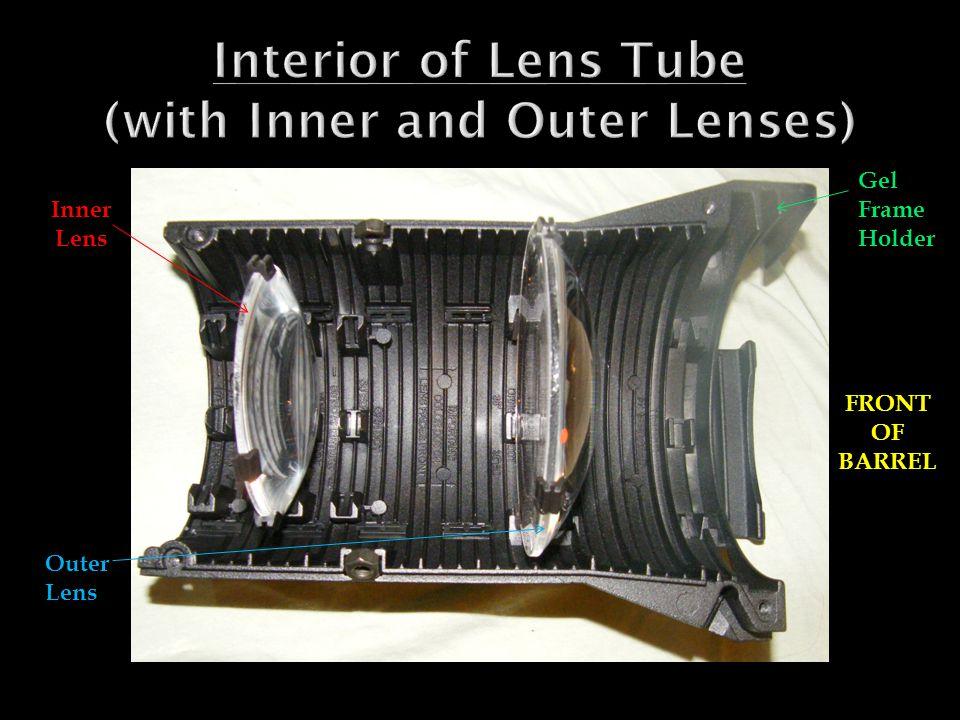 Inner Lens Outer Lens Gel Frame Holder FRONT OF BARREL