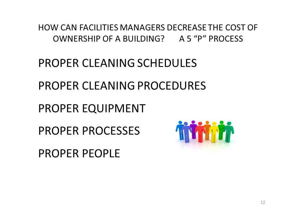 12 HOW CAN FACILITIES MANAGERS DECREASE THE COST OF OWNERSHIP OF A BUILDING.