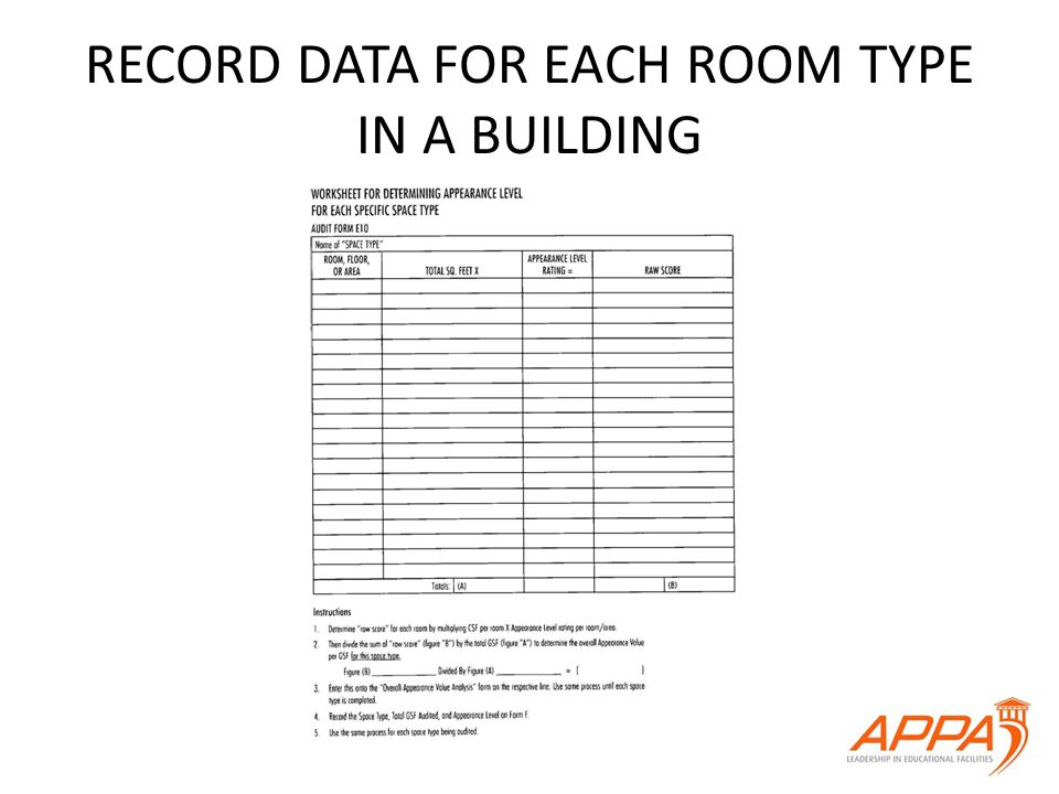 RECORD DATA FOR EACH ROOM TYPE IN A BUILDING