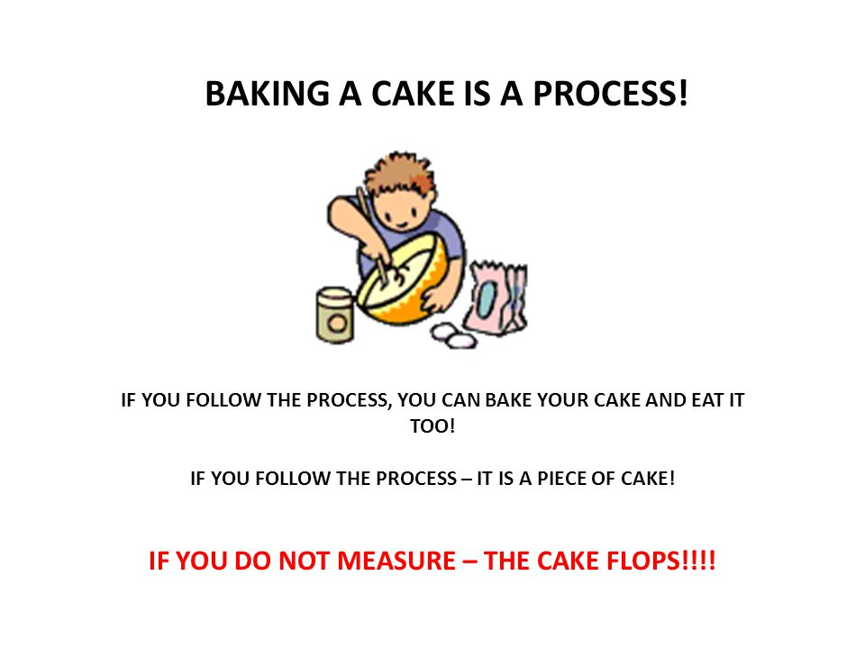 BAKING A CAKE IS A PROCESS. IF YOU FOLLOW THE PROCESS, YOU CAN BAKE YOUR CAKE AND EAT IT TOO.