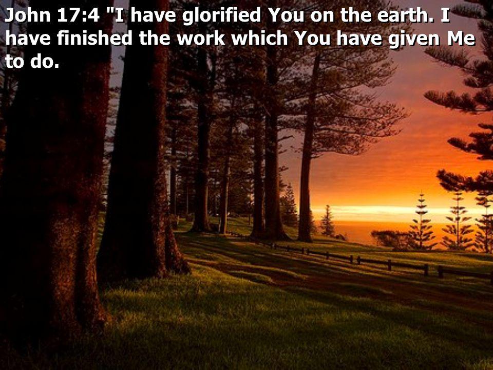 John 17:4 I have glorified You on the earth.