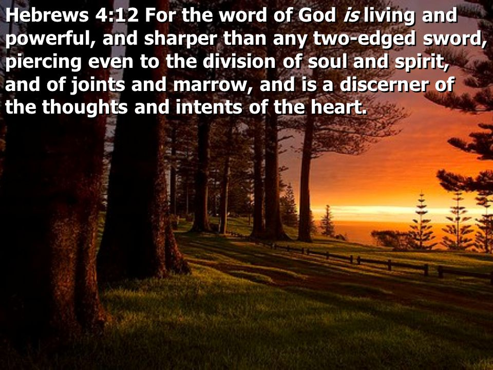 Hebrews 4:12 For the word of God is living and powerful, and sharper than any two-edged sword, piercing even to the division of soul and spirit, and of joints and marrow, and is a discerner of the thoughts and intents of the heart.