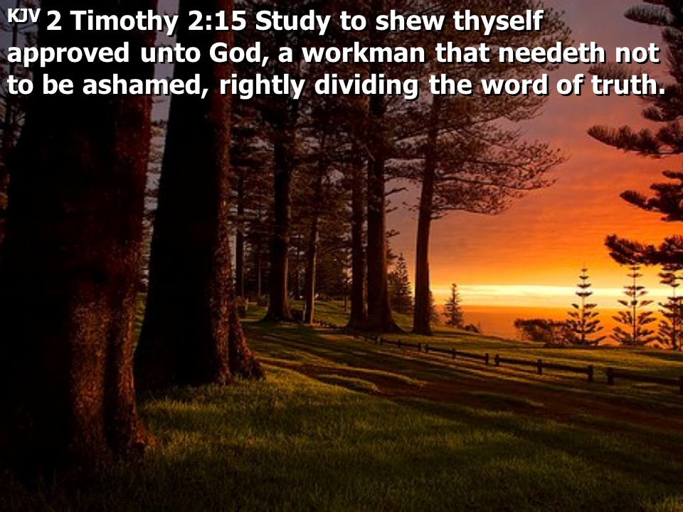 KJV 2 Timothy 2:15 Study to shew thyself approved unto God, a workman that needeth not to be ashamed, rightly dividing the word of truth.