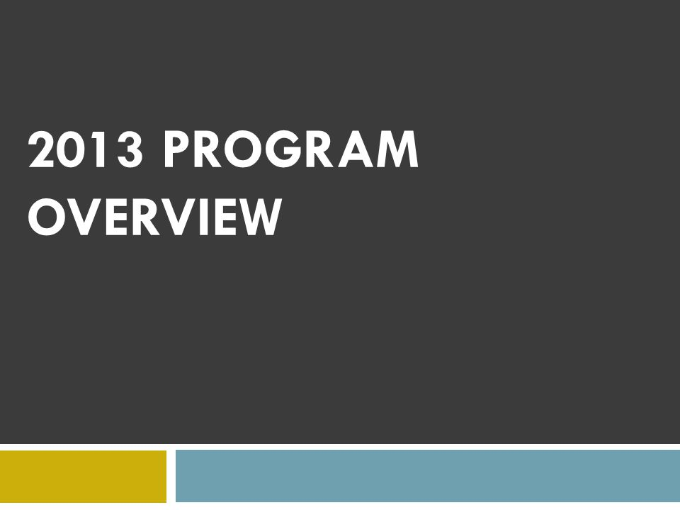 2013 PROGRAM OVERVIEW