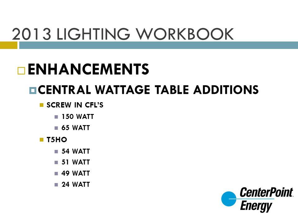 2013 LIGHTING WORKBOOK ENHANCEMENTS CENTRAL WATTAGE TABLE ADDITIONS SCREW IN CFLS 150 WATT 65 WATT T5HO 54 WATT 51 WATT 49 WATT 24 WATT