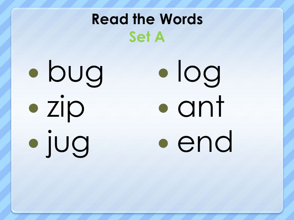 Read the Words Set A bug zip jug log ant end