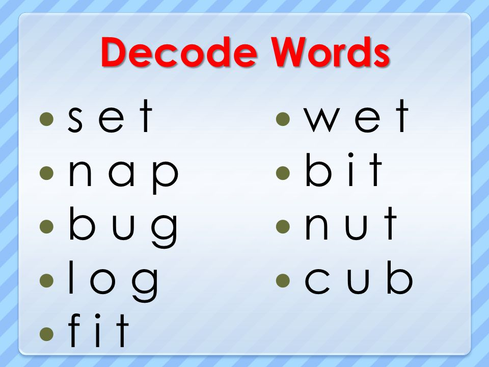 Decode Words s e t n a p b u g l o g f i t w e t b i t n u t c u b