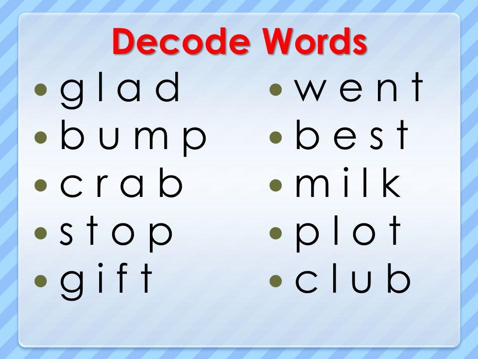 Decode Words g l a d b u m p c r a b s t o p g i f t w e n t b e s t m i l k p l o t c l u b