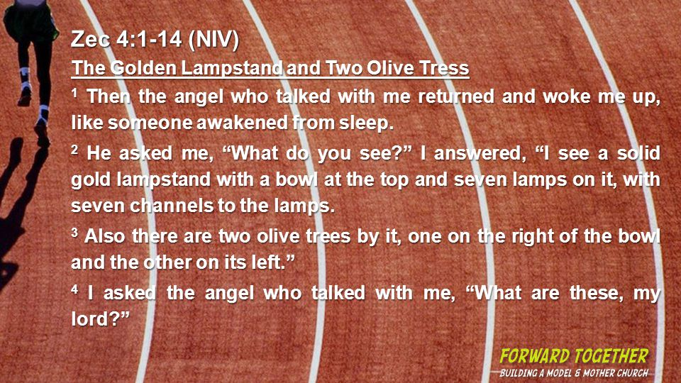 Zec 4:1-14 (NIV) The Golden Lampstand and Two Olive Tress 1 Then the angel who talked with me returned and woke me up, like someone awakened from sleep.