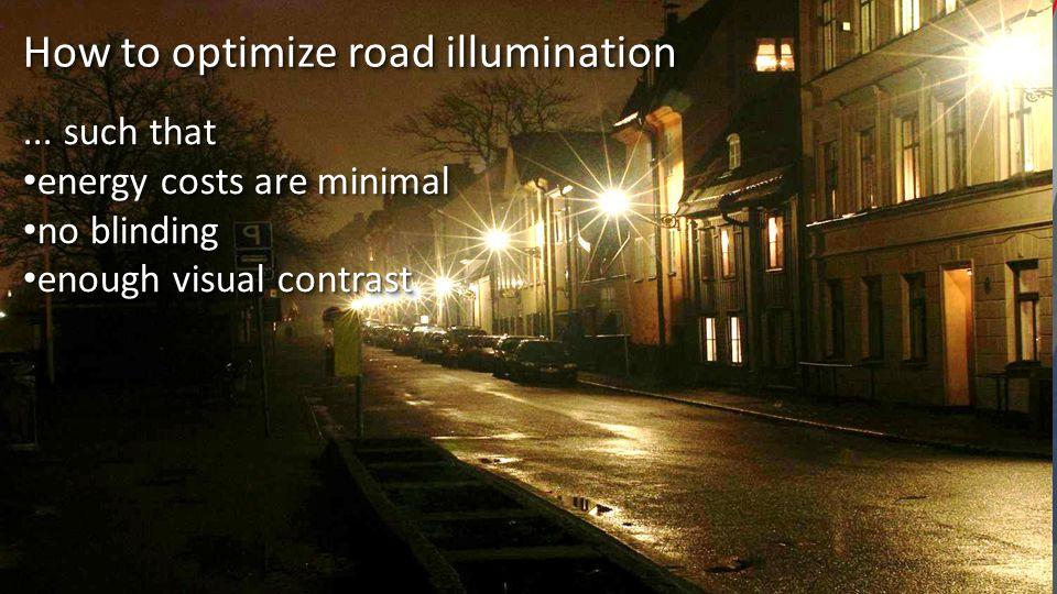 relation road - eye: intensity f 2 (r,E) c*B(r) (does hardly depend on E) relation lamp – road: B(r) = f 1 (L,r) = p/|L-r| 2 multiple lamps: B = B 1 + B 2 + B 3 +...