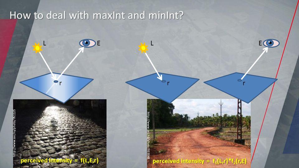 http://www.sxc.hu/photo/933048 perceived intensity = f 1 (L,r)*f 2 (r,E) L r E r How to deal with maxInt and minInt?