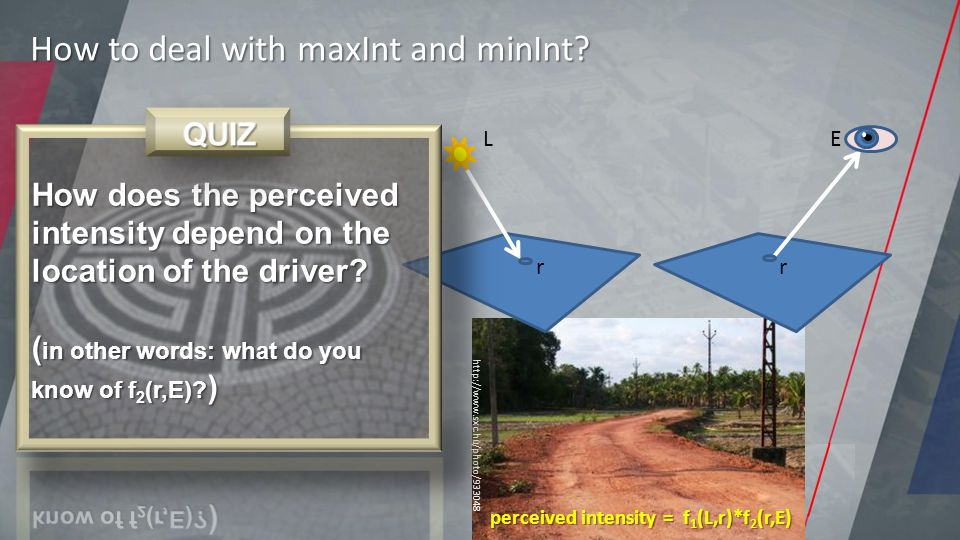 http://www.sxc.hu/photo/933048 perceived intensity = f 1 (L,r)*f 2 (r,E) L r E r How to deal with maxInt and minInt