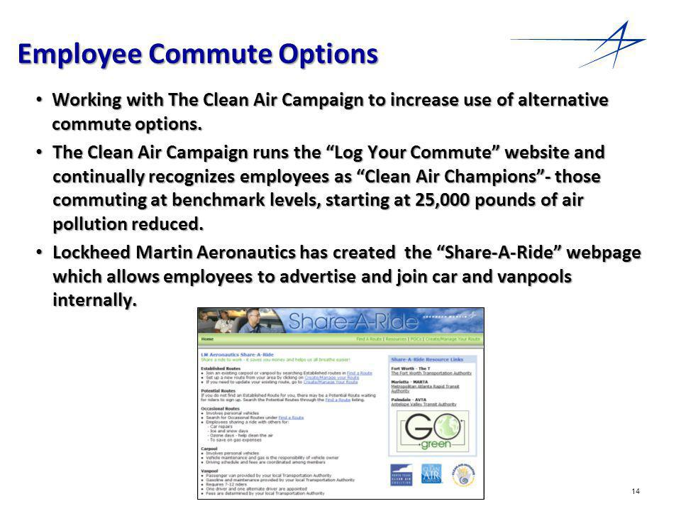 14 Employee Commute Options Working with The Clean Air Campaign to increase use of alternative commute options.
