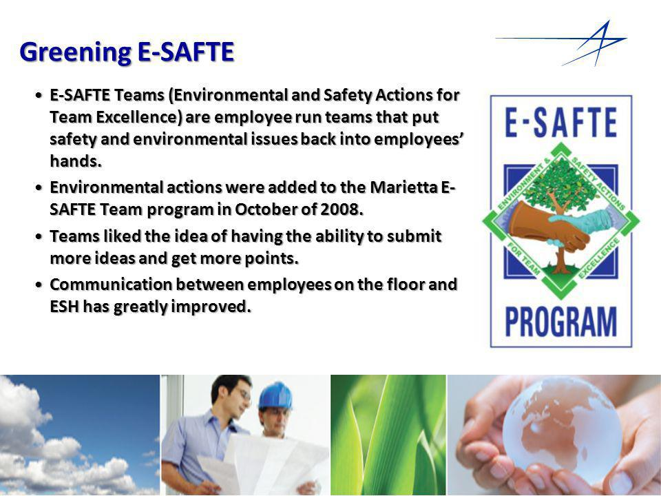 16 Greening E-SAFTE E-SAFTE Teams (Environmental and Safety Actions for Team Excellence) are employee run teams that put safety and environmental issues back into employees hands.E-SAFTE Teams (Environmental and Safety Actions for Team Excellence) are employee run teams that put safety and environmental issues back into employees hands.